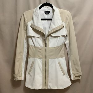 Bebe two tone jacket with gold zipper and buttons